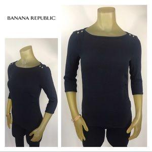 BANANA REPUBLIC Navy Blue Top Gold Burtons XS 0 2